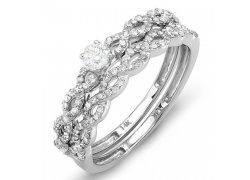 Elegantní zásnubní prsten z bílého zlata s mnoha diamanty, Klenota.cz: 16 490 Kč